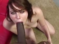 A sexy babe sucking a monster cock